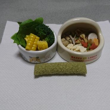 今日(4/25)の食事 :この頃は生野菜、果物、チモシー、七穀パフを好んでます。ペレットも割りと食べてくれます。(^^)