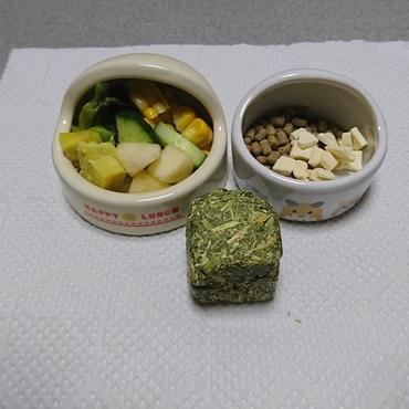 今日(5/22)のダイエットメニュー(茹でた小松菜とサツマイモ、きゅうり、コーン、りんご、ペレット、サクサク豆腐)何とか3g体重が減りました。(^o^)v
